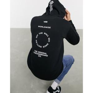 バンズ メンズ パーカー・スウェットシャツ アウター Vans Distort Type hoodie in black Black|astyshop