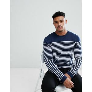 エイソス メンズ ニット、セーター アウター ASOS DESIGN knitted breton stripe sweater in navy Navy astyshop