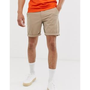 エイソス メンズ カジュアル ボトムス ASOS DESIGN slim chino shorts in stone Stone astyshop