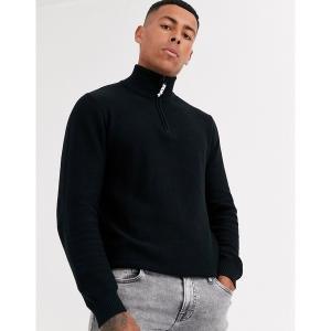 プロダクト メンズ ニット、セーター アウター Produkt organic half zip knitwear Black astyshop