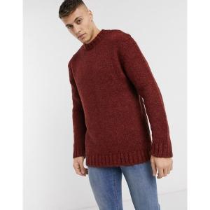 リバーアイランド メンズ ニット、セーター アウター River Island boucle sweater in rust Rust astyshop