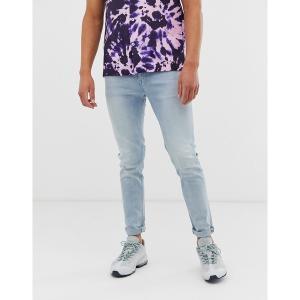 エイソス メンズ デニム ボトムス ASOS DESIGN skinny jeans in light wash blue Light wash blue|astyshop