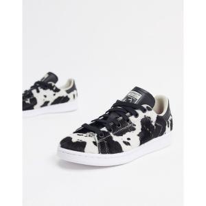 アディダスオリジナルス レディース スニーカー シューズ adidas Originals Stan Smith sneakers in animal print Black/pink astyshop
