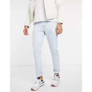 エイソス メンズ デニム ボトムス ASOS DESIGN stretch slim jeans in flat light wash blue Light wash blue|astyshop