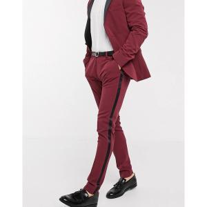 エイソス メンズ カジュアル ボトムス ASOS DESIGN super skinny tuxedo suit pants in burgundy Red astyshop