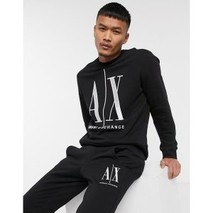 アルマーニエクスチェンジ メンズ パーカー・スウェットシャツ アウター Armani Exchange Icon AX large logo crew neck sweat in black Black|astyshop