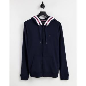 トミー ヒルフィガー メンズ パーカー・スウェットシャツ アウター Tommy Hilfiger lounge zip hoodie with hood logo taping in navy Navy|astyshop