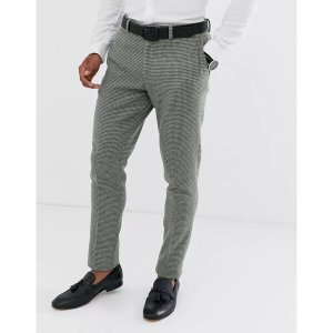 エイソス メンズ カジュアル ボトムス ASOS DESIGN super skinny suit pants in green wool blend mini check Green astyshop