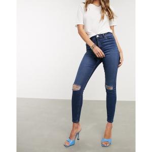 エイソス レディース デニム ボトムス ASOS DESIGN Ridley high waisted skinny jeans in dark stonewash blue with busted knees Dark stone wash|astyshop