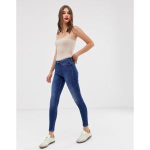 オンリー レディース デニム ボトムス Only high waist authentic dark blue skinny jean Dark blue denim|astyshop