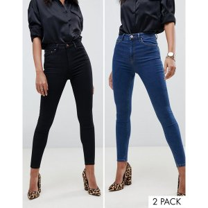 エイソス レディース デニム ボトムス ASOS DESIGN Ridley skinny jeans 2 pack in black and mid blue wash save 16% Multi|astyshop