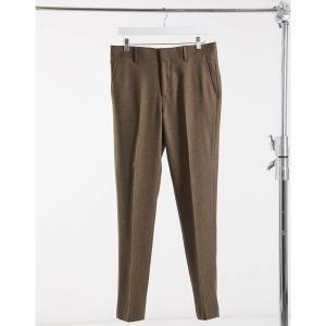 エイソス メンズ カジュアル ボトムス ASOS DESIGN wedding super skinny wool mix suit pants in camel herringbone Camel astyshop