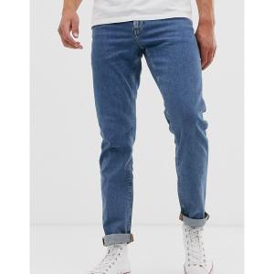 エイソス メンズ デニム ボトムス ASOS DESIGN stretch slim jeans in flat mid wash blue Mid wash blue|astyshop