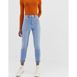 エイソス レディース デニム ボトムス ASOS DESIGN Farleigh high waisted slim mom jeans in mid wash with vertical seam detail Mid wash blue|astyshop