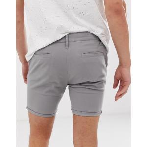 エイソス メンズ カジュアル ボトムス ASOS DESIGN skinny chino shorts in light gray Warm gray astyshop
