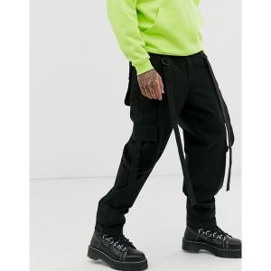 エイソス メンズ カジュアル ボトムス ASOS DESIGN cargo pants in black with strapping Black astyshop