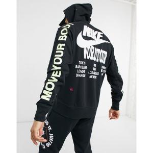 ナイキ メンズ パーカー・スウェットシャツ アウター Nike World Tour Pack graphic hoodie in black Black astyshop