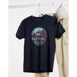 ポールスミス メンズ Tシャツ トップス PS Paul Smith circle logo slim fit t-shirt in navy Navy astyshop
