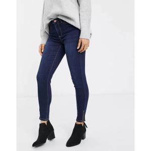 ピーシーズ レディース デニム ボトムス Pieces Jamie high waist ankle grazer skinny jeans Dark blue denim|astyshop