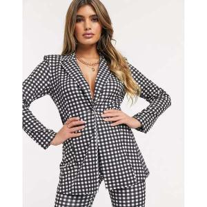 エイソス レディース ジャケット・ブルゾン アウター ASOS DESIGN jersey suit blazer in gingham Check astyshop