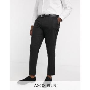 エイソス メンズ カジュアル ボトムス ASOS DESIGN Plus skinny smart pants in black Black astyshop