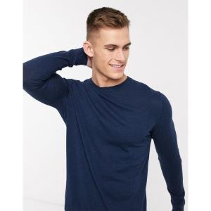 エイソス メンズ ニット、セーター アウター ASOS DESIGN cotton sweater in navy Navy astyshop