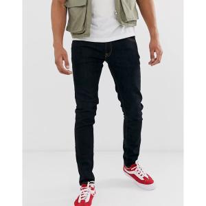 ヌーディージーンズ メンズ デニム ボトムス Nudie Jeans Co Skinny Lin skinny fit jeans in deep orange Navy|astyshop