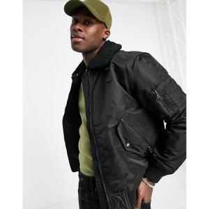 ラコステ メンズ ジャケット&ブルゾン アウター Lacoste sherpa collar padded bomber jacket Black astyshop