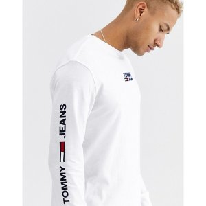 トミーヒルフィガー メンズ Tシャツ トップス Tommy Jeans corp long sleeve tee in white Classic white astyshop