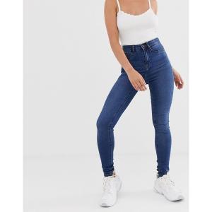 ノイジーメイ レディース デニム ボトムス Noisy May high waisted skinny jeans in mid blue wash Med blue denim|astyshop