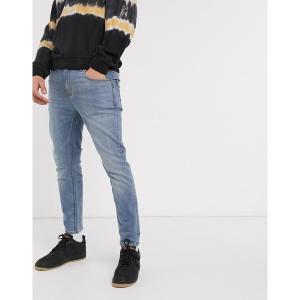 エイソス メンズ デニム ボトムス ASOS DESIGN ankle grazer skinny jeans in light wash blue Light wash blue|astyshop