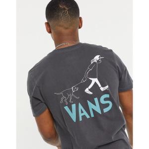 バンズ メンズ Tシャツ トップス Vans Waffle Vintage Overdye back print t-shirt in black Black astyshop