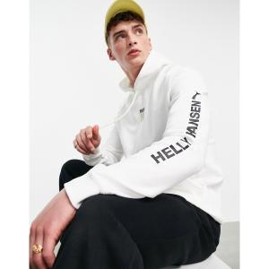 プーマ メンズ パーカー・スウェットシャツ アウター Puma x Helly Hansen hoodie with backprint in white Puma white astyshop
