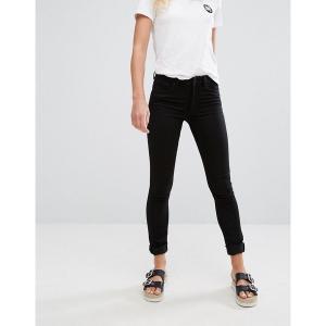 モンキ レディース デニム ボトムス Monki mocki mid waist slim jeans with organic cotton in deep black Black|astyshop