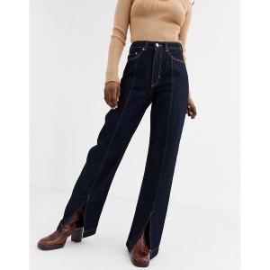 ウィークデイ レディース デニム ボトムス Weekday Row organic cotton high waist jeans in dark blue rinse Dark blue rinse|astyshop