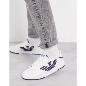 アルマーニ メンズ スニーカー シューズ Armani EA7 Millenium contrast eagle logo sneakers in white White/navy astyshop