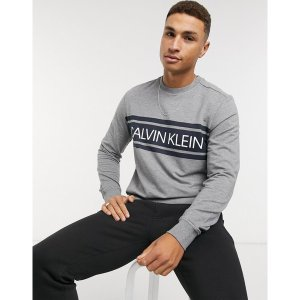 カルバンクライン メンズ パーカー・スウェットシャツ アウター Calvin Klein logo crew neck sweater in gray Heroic grey htr|astyshop