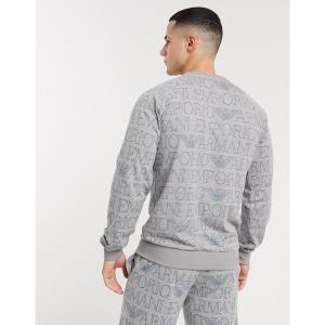 エンポリオ アルマーニ メンズ パーカー・スウェットシャツ アウター Emporio Armani Loungewear all over text print crew neck sweat in gray Gray|astyshop