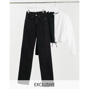 ウィークデイ レディース デニム ボトムス Weekday Row organic cotton slim straight leg jeans in washed black Echo black|astyshop