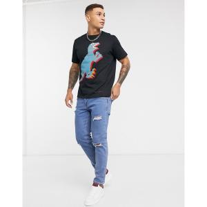 ポールスミス メンズ Tシャツ トップス PS Paul Smith large dino print t-shirt in black Black astyshop