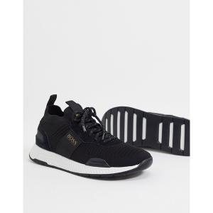 ボス メンズ スニーカー シューズ BOSS Titanium Runn knitted sneakers with contrast sole in black Black|astyshop
