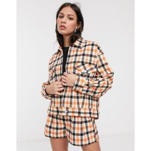 エイソス レディース ジャケット・ブルゾン アウター ASOS DESIGN oversized suit shacket in orange check Orange check astyshop