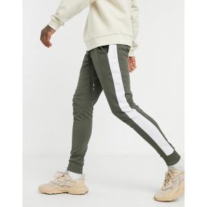 エイソス メンズ カジュアル ボトムス ASOS DESIGN skinny sweatpants with side stripe in khaki Toad astyshop