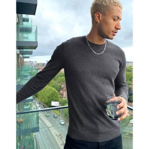 エイソス メンズ ニット、セーター アウター ASOS DESIGN cotton sweater in charcoal Charcoal astyshop