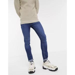 ジャック アンド ジョーンズ メンズ デニム ボトムス Jack & Jones Intelligence skinny fit super stretch jeans in mid blue Mid blue|astyshop