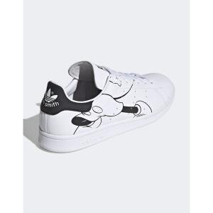 アディダスオリジナルス メンズ スニーカー シューズ adidas Originals Stan Smith Sneakers with Mickey Mouse Print in White White astyshop
