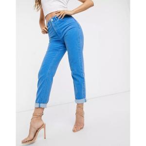エイソス レディース デニム ボトムス ASOS DESIGN Farleigh high waist slim mom jeans in cyan blue Ice blue|astyshop
