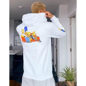 バンズ メンズ パーカー・スウェットシャツ アウター Vans X The Simpsons Family hoodie with back print in white The simpsons famil|astyshop