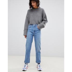 エイソス レディース デニム ボトムス ASOS DESIGN Farleigh high waisted straight leg jeans in stone wash blue Light stone|astyshop