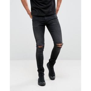 エイソス メンズ デニム ボトムス ASOS DESIGN super skinny 12.5oz jeans with knee rips in washed black Washed black|astyshop